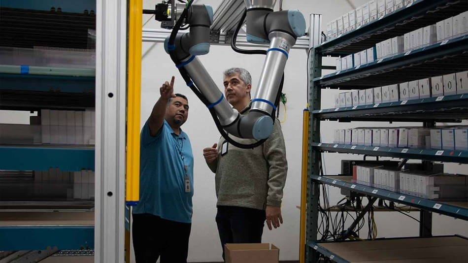 Universal Robot UR 10e deployed between two work cells at DCL, as part of their supply chain automation